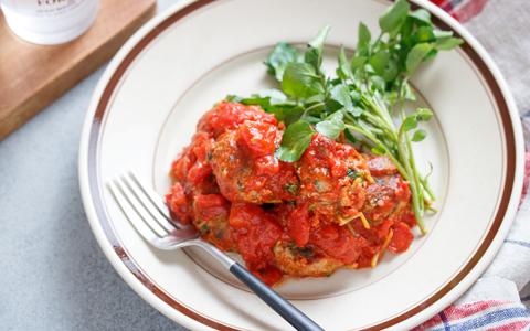豆苗ミートボールのトマト煮