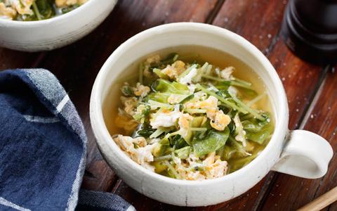 豆苗とキャベツのかき玉スープ