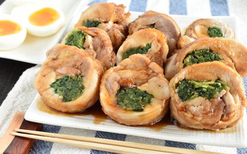 豆苗巻き鶏チャーシュー