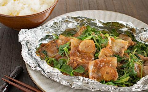 豆苗と豚肉のホイル焼き