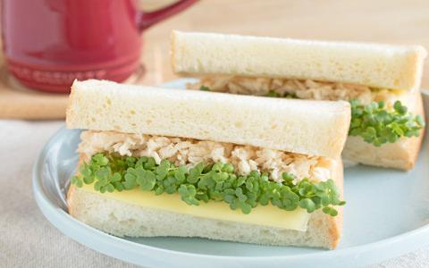 マスタード スプラウトとサラダチキンのサンドイッチ