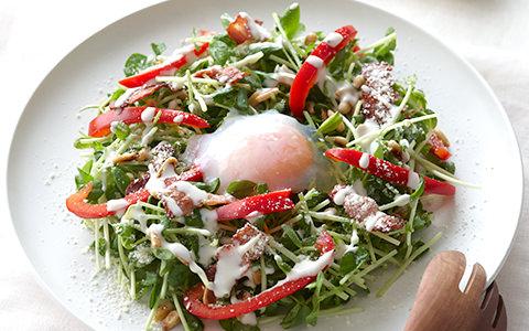 豆苗とパプリカのシーザーサラダ