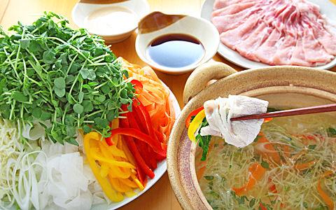 豆苗と豚肉のシャキシャキ野菜鍋