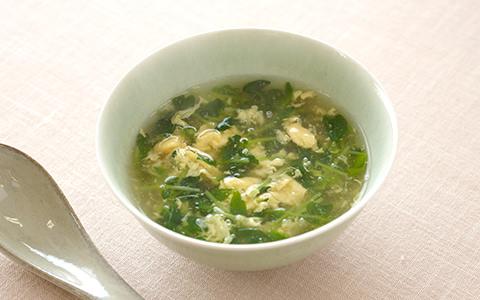 豆苗の中華卵スープ