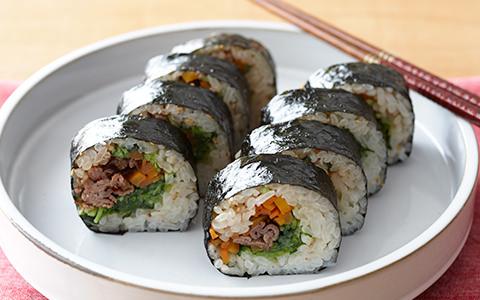 韓国風豆苗のり巻き(キムパプ)