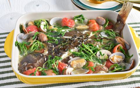 豆苗と白身魚のアクアパッツア