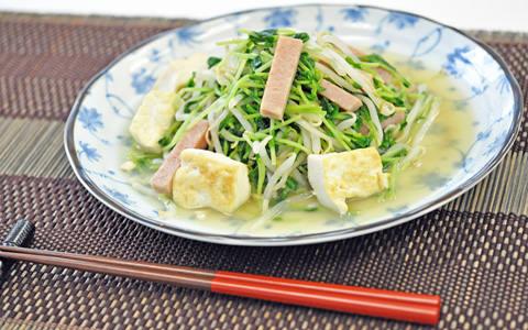 豆苗の豆腐チャンプルー