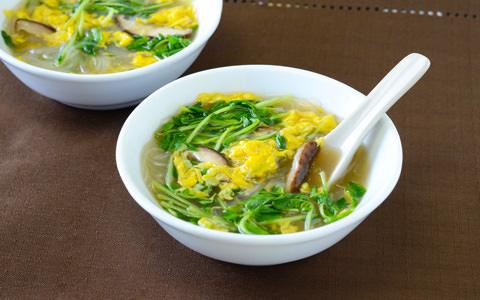 豆苗と春雨の中華スープ