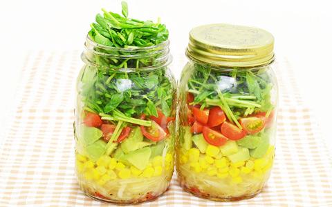 豆苗のジャーサラダ
