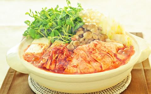 豆苗のキムチ鍋