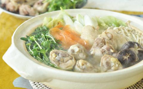 豆苗と鶏肉の博多風水炊き