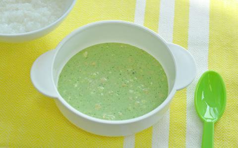 鮭と豆苗のチーズスープ(離乳食)