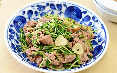 牛肉と豆苗の炒め煮