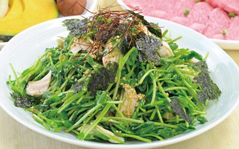 豆苗の韓国風サラダ